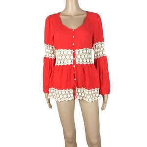 Entro red crochet button up thin cardigan